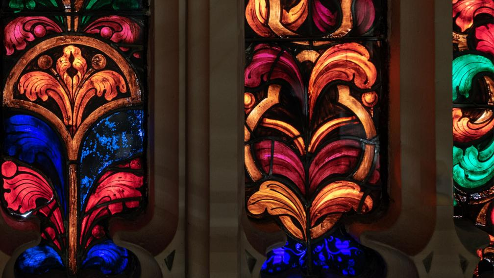 The colorful glass windows at Trinity Church.
