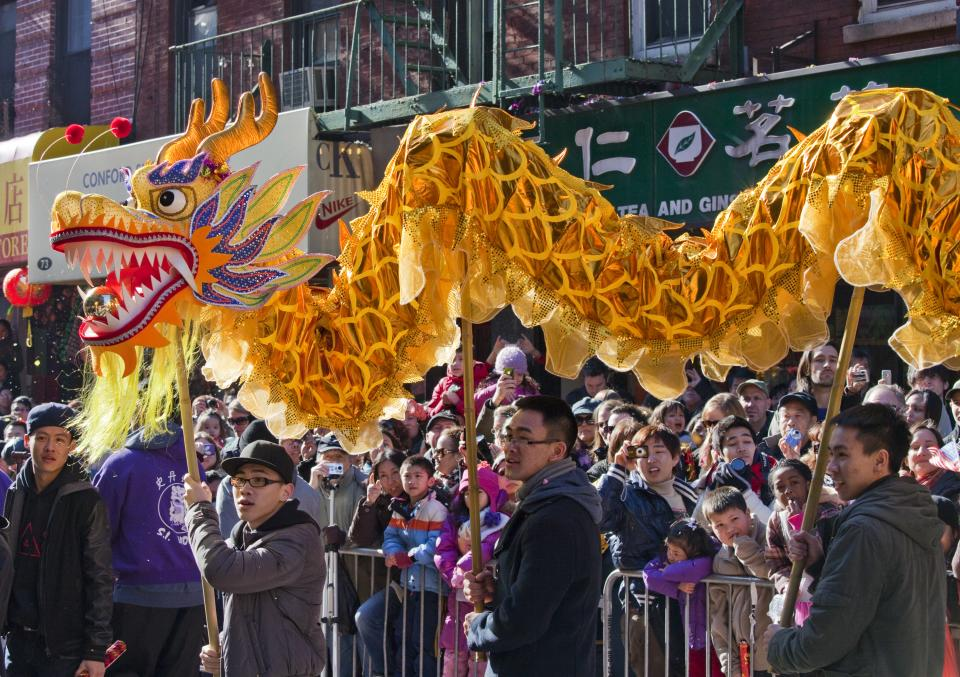 Yellow dragon in Chinatown parade