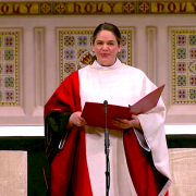 The Rev. Beth Blunt in Trinity Church during Lent