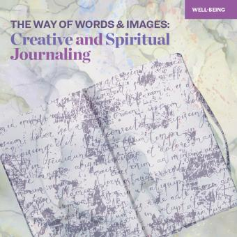 "A book in purple on a yellow background with the words, ""The Way of Words & Images: Creative & Spiritual Journaling"""