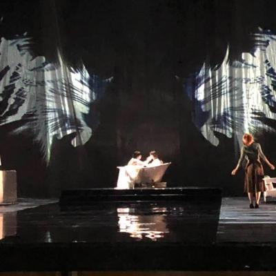 Performance of Du Yun's Angel's Bone, black and white stage