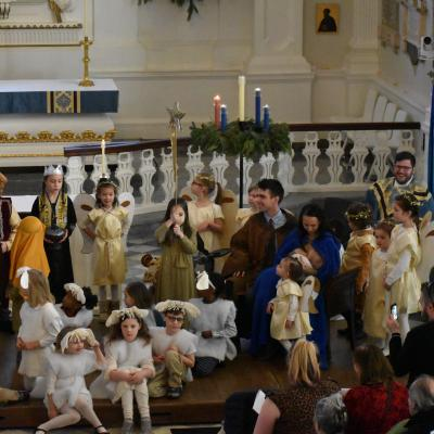 Christmas pageant with children dressed up