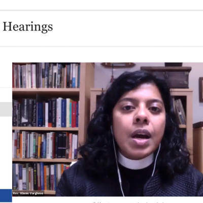 Screenshot of The Rev. Winnie Varghese testifying via Zoom to the NYC City Council.