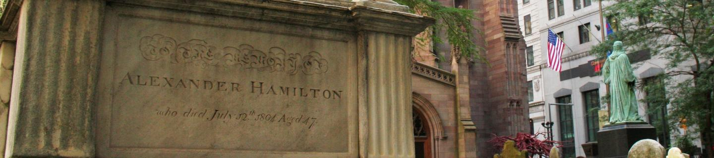 Detail of the monument marking the grave of Alexander Hamilton